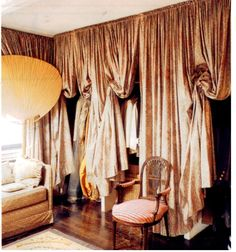Nan Kempner's curtained closet with Italian stringing # I am doing this! I have four closets in my room one is six feet long and all the old doors are falling apart. It's was thought to do this now I'm sure!!
