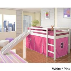 Donco Kids Twin-size Tent Loft Bed with Slide White   Pink Tent Bed With 67b99adf21e