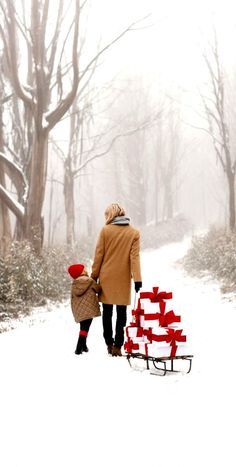 #Christmas photography Mom pulling gifts on a sled with her daughter #winter snow ToniK Joyeux Noël brookeholm.com.au