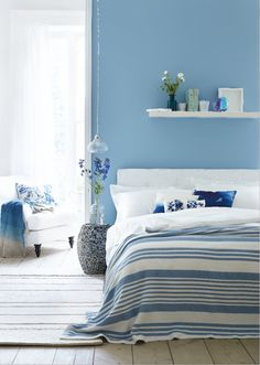 Ideas wall paper bedroom blue farrow ball for 2019 Farrow And Ball Bedroom, Blue Bedroom Walls, Bedroom Paint Colors, Blue Walls, Bedroom Decor, Blue Bedrooms, Bedroom Boys, Bedroom Themes, Bedroom Storage
