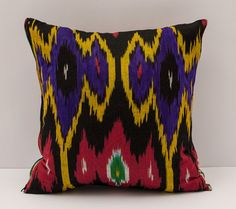 15x15 black red purple yellow cotton ikat pillow by SilkWay