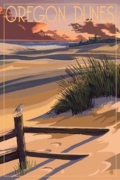 Oregon Dunes on the Oregon Coast - Lantern Press Poster ~Via Jim Spagle Oregon Dunes, Oregon Coast, Seaside Oregon, Voyage Usa, National Park Posters, Oregon Travel, Illustration, Vintage Travel Posters, Retro Posters