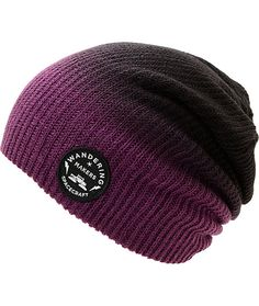 Improve your style with a unique purple to black fade design with a black Wandering Makers logo patch embroidered near the hem.