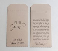 THE DETAILS    These wedding favor seed packet envelopes measure 2 x 3.5 inches (same size as a business card). I try to keep them as even and