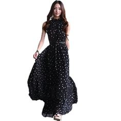 Sexy Women's Chiffon Polka Dots Maxi Long Beach Sleeveless Party Dress Gown New  - Click image twice for more info - See a larger selection of Party dress at  http://azdresses.com/category/dress-categories/dresses-by-occassion/party-dress/ - woman, womans dress, womans fashion, dress, gift ideas, semi formal dress « AZdresses.com