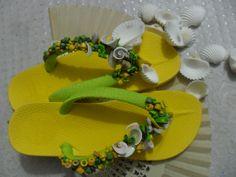 Sandalias Playeras decoradas muy artesanales exclusivas de Diseños Clariangel