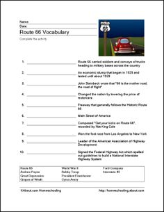 Route 66 Printables: Route 66 Vocabulary