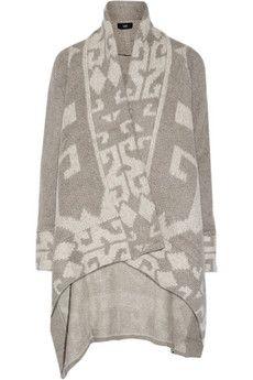 Line Marlboro asymmetric intarsia-knit cardigan | THE OUTNET