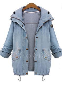 Płaszcze - $74.31 - Jeans Poliester Błękit Długi Długi Rękaw Klapa Płaszcze (1715109935)