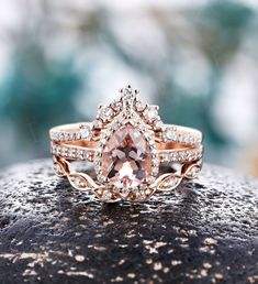 Pear shaped Morganite engagement ring rose gold women vintage unique moissanite stacking rings Wedding Ring set diamond art deco rings Vintage Diamond Wedding Bands, Wedding Ring Sets Unique, Stacked Wedding Rings, Antique Wedding Rings, Handmade Engagement Rings, Pear Shaped Engagement Rings, Engagement Ring Settings, Art Deco Diamond Rings, Art Deco Ring