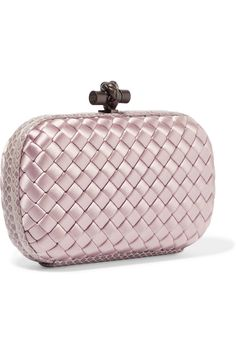 BOTTEGA VENETA The Knot watersnake-trimmed intrecciato satin clutch Antique  Roses 2bf38c6f4e24d