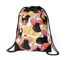 Black cats Drawstring Bag