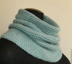 Купить Снуд серо-мятный - снуд вязаный, снуд спицами, снуд шарф хомут