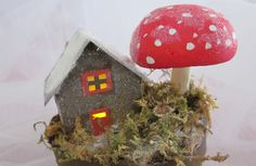 little house with mushroom and moss