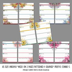 A5 Size WO2P Patterned and Graphed Inserts: by LittlePinkPlanner