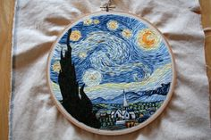 Self-taught embroidery artist Lauren Spark was asked by her mother to create an embroidery of Van Gogh's Starry Night. Over the next month, Spark spent almost 60 hours working on the piece, using the Google Cultural Institute's website to explore extremely high resolution views of the