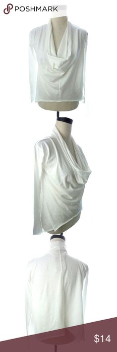 """White Cowl Drape Layer  Shirt White cowl long sleeve shirt. Slightly oversized and see through. Hard to tell from photo but sides are slightly longer and pointed. 100% Pima Cotton. SIze XS. Armpit to armpit is 17"""" across when flat. Shoulder to side pointed hem is 25"""".  Great top to layer or add a little sun protection on your arms.  wt2583 Alternative Tops Tees - Long Sleeve"""