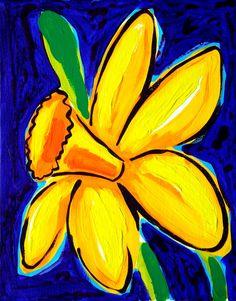 Daffodils    Original painting by STUCKY 8x10 by STUCKYOUTSIDERART, $60.00