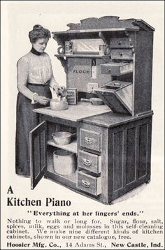 You know, after trying to arrange my awkward new kitchen, I actually really want something like this.     1901 Hoosier Kitchen Cabinet