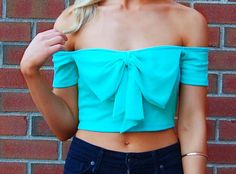 Little Flirt - Mint Off the Shoulder Chiffon Bow Crop Top | Wildtwee