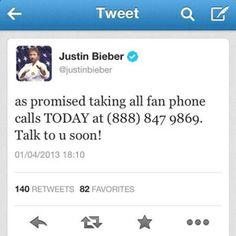 Justin Biebers Phone Number