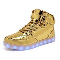 Women Men Dance High Top LED Light Up Shoes Flashing Sport Sneakers (Gold 35/4 B(M) US Women/3 D(M) US Men)