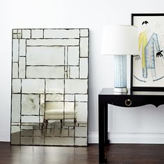 The Leger mirror takes De Stijl's design grid in a warm, decorative direction with gauzy antiquing and softly graphic lines that form an all-over geometric pattern. This romantic design commands attention because each mirror is individually antiqued and h Bungalow 5, Furniture Market, Room Accessories, Wood And Metal, 5 D, Antiques, Interior, Design, Mirrors