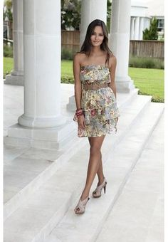 Complete the Look  CRISSCROSS PLATFORM PUMPS  BEADED STRETCH BRACELET SET        TIERED FLORAL PRINT STRAPLESS DRESS