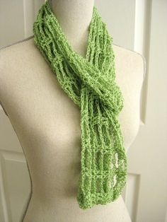 Lacy Scarf:  Loose chain & double crochet pattern.