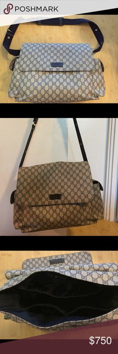 b60b792455fa Gucci Diaper Bag Authentic Gucci GG Supreme Diaper Bag color: blue/beige. I