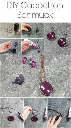 DIY Anleitung für einen einfachen Cabochon Anhänger und Cabochon Ohrringe im Stil der Schattendiebin. Werbung