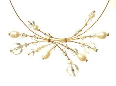 Freshwater pearl and crystal necklace gold and pearl by Makeutock