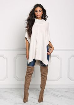Shop Trendy Women's and Junior Clothing Casual Fall Outfits, Girly Outfits, Simple Outfits, Poncho Sweater, Knitted Poncho, Fashion Models, Girl Fashion, Fashion Outfits, Ripped Jeans Style