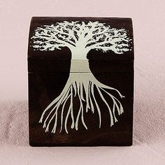 Miniature Wooden Box with Lid - exclusive 'Tree Design'