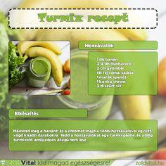 Egy finom őszibarackos zöldturmix receptje. Kóstold meg te is! #zöldturmix #receptek Pickles, Cucumber, Smoothies, Minden, Drinks, Health, Food, Smoothie, Drinking