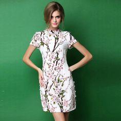Women Summer High-Quality Chinese style Vintage flower Print Dress Silk Dress cheongsam
