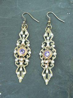 Purple Renaissance  earrings Renaissance festival by gildedingypsy, $29.50