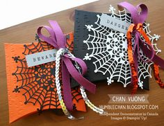 Halloween treat pillow boxes made with the Square Pillow Box Thinlits dies from Stampin' Up!  - Made by Chan Vuong
