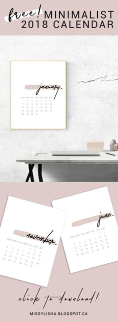 Gorgeous FREE minimalist #2018 Calendar! Start your year organized and with this stunning printable.