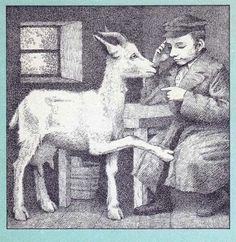 Illustration by Maurice Sendak - 1928 - 2012 Isaac Bashevis Singer, Goat Art, Maurice Sendak, Goat Farming, Jewish Art, Children's Literature, Typography Prints, Children's Book Illustration, Adult Coloring