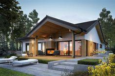 Dom Simon IV - siedem powodów, za które zimą pokochacie go jeszcze bardziej Modern Bungalow Exterior, Modern Bungalow House, Dream House Exterior, Modern House Design, Simple Bungalow House Designs, Simple House Exterior, Beautiful House Plans, Village House Design, Bedroom House Plans