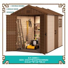 kinying outdoor plastic sheds provide a variety of solutions for all of your home and garden storage needs. Outdoor Garden Sheds, Outdoor Greenhouse, Outdoor Storage Sheds, Backyard Sheds, Plastic Storage Sheds, Plastic Sheds, Large Sheds, Shed Homes, Tool Sheds