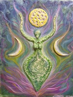[Can Lucifer/crescent (wife & mother) symbolize Divine Feminine Spirit or subconscious mind of humanity EXed from Light/Akasha? & her son/husband is Satan/masculine/sun-disk or conscious mind of humanity EXed from Light/Akasha? & together they create Earth Goddess, Goddess Art, Moon Goddess, Triple Goddess, Sacred Feminine, Mystique, Gods And Goddesses, Book Of Shadows, Wiccan
