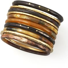 Ashley Pittman Bamba Bangle Set ($425) ❤ liked on Polyvore featuring jewelry, bracelets, brown, african jewelry, bangle set, hammered bangle bracelet, ashley pittman and hand crafted jewelry