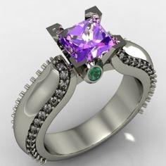 Custom Made Amethyst, Emerald And Diamond Engagement Ring