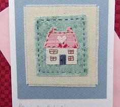 Hand-stitched card by Helen Drewett HOME IS WHERE THE HEART IS more in my shop | eBay