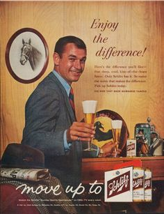 """Description: 1961 SCHLITZ BEER vintage magazine advertisement """"Enjoy the difference"""" -- Enjoy the difference! Here's the difference you'll like -- that deep, cool, kiss-of-the-hops flavor. The beer that made Milwaukee famous. -- Size: The dimensions of the full-page advertisement are approximately 10.5 inches x 13.5 inches (26.75 cm x 34.25 cm). Condition: This original vintage full-page advertisement is in Excellent Condition unless otherwise noted."""