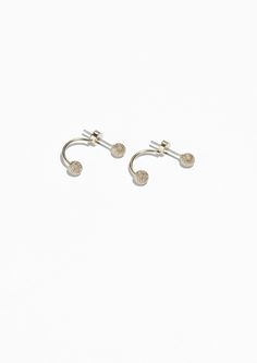 Other Stories Pom-Pom Drop Back Earrings in Gold