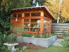 Sunset Garden Studio by McConnell Built McConnell Built, LLC [ Modern Garden Shed, Plans Carpentry ] Seattle Shed Office, Backyard Office, Backyard Studio, Backyard Sheds, Garden Office, Garden Sheds, Office Art, Herb Garden, Studio Hangar