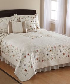 Look at this Ivory Embroidered Lake Forest Quilt on #zulily today!